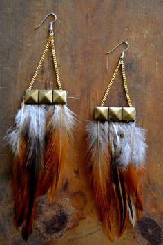 DIY- Feather & Stud Earrings
