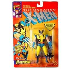 X-men Action Figures - Wolverine (Second Edition) by Toy Biz. $29.95. With Spring Out Slashing Claws!. His super-sharp adamantium claws can slash through steel. His mutant healing ability can mend even the worst wounds in minutes. He's Wolverine, the best at what he does and what he does best is fight Evil Mutants!  Push his claws in and they slash back out! This Wolverine was made in 1992.
