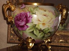 Amazing Museum Quality Rare Limoges Signed Jardiniere/Vase Red/Pink/Yellow Roses