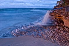 One of my favorite locations in Michigan's Upper Peninsula is Pictured Rocks National Lakeshore. Pictured Rocks has a number of beautiful waterfalls which I try to visit each time I travel to… Munising Falls, Places To Travel, Places To See, Pictured Rocks National Lakeshore, Michigan Vacations, Picture Rocks, Upper Peninsula, Beautiful Waterfalls, Places Of Interest