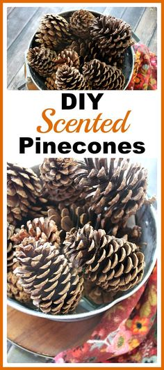 DIY Scented Pinecones- I love to make DIY scented pinecones to create a feast for the nose as well as the eyes and create that welcoming home scent throughout the holidays! | easy craft, homemade scented pinecones, fall decor, Christmas decor, winter decor, #pinecones