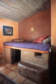 Bedroom in cob home