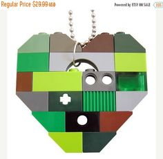 ON SALE Rave PLUR Camo necklace  Chunky heart by MademoiselleAlma #MademoiselleAlma #LEGO #ETSY