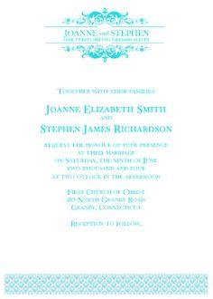 free teal wedding invitation template