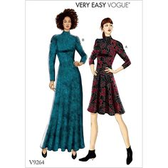 Vogue Patterns Sewing Pattern Misses'/Misses' Petite Knit, Fit-And-Flare Dresses Vogue Patterns, Easy Sewing Patterns, Clothing Patterns, Dress Patterns, Fit And Flare, Fit N Flare Dress, Maxi Robes, Petite Dresses, Sewing Clothes