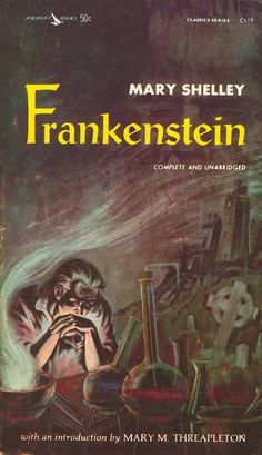 "Frankenstein by Mary Shelley ""19-year-old Mary Shelley created a genre-bending classic with her cautionary tale of mankind's obsession with science."""