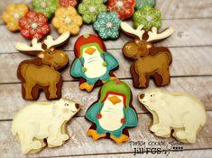 Green, Turquoise, Yellow & Burgundy Polar Bears, Penguins, Reindeer and Flower Cookies