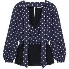 Balenciaga Polka-dot silk crepe de chine blouse ($820) ❤ liked on Polyvore featuring tops, blouses, balenciaga, shirts, miscellaneous tops, navy, blue blouse, blue silk blouse, tie neck tie and silk shirt