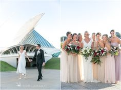 Mix and Match bridesmaid dresses. blush tones. White Wedding florals. Red and white Weddings florals. Spring wedding. Erin & Mitch | Milwaukee Art Museum Wedding Photographer photo by HeatherCookElliott.com