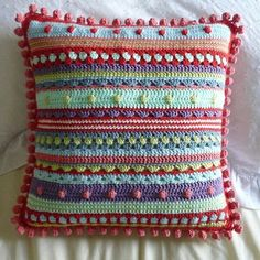 Ravelry: Project Gallery for Mixed Stitch Stripey Blanket pattern by Julie Harrison Crochet Blocks, Crochet Motif, Knit Crochet, Crochet Patterns, Stitch Patterns, Crochet Pillow Pattern, Afghan Patterns, Square Patterns, Blanket Crochet