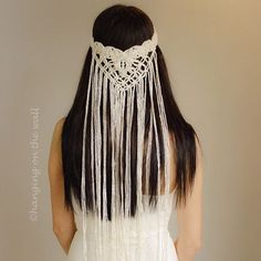This Macrame Bride's Veil is made with mercerized cotton yarn twisted with gold lurex thread. So this makes the veil look a bit shiny. On the backside of veil there are 2 imitation pearls which makes the veil special and elegant. Bride Veil, Wedding Veil, Boho Wedding, Boho Headpiece, Boho Headband, Macrame Headband, The Veil, Yarn Twist, Boho Chic