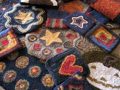 Pile of Hooked Rugs Makes An Artsy Collage by Cathy G's Hooked Rugs Art, via Flickr