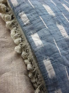 French blue ikat quilt - antique
