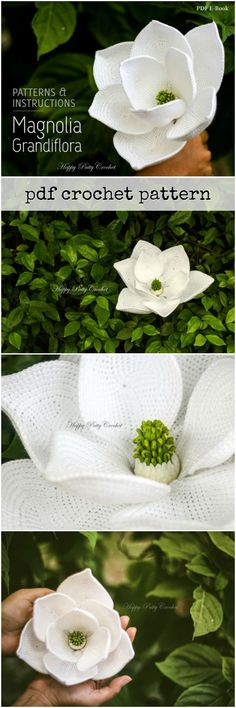 What a stunning pattern! Look at the gorgeous detail on this magnolia flower! A few of them tied together would make an amazing bridal bouquet! #etsy #crochet #pattern #instructions #stepbystep #DIY #flowers #pdf #ebook
