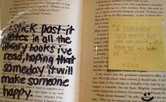 Hiding post-it notes in library books...hmmmmm potential! (postsecret4)