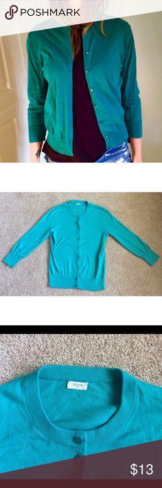 J. Crew Turquoise Blue Cardigan Good condition. 100% cotton J. Crew Sweaters Cardigans
