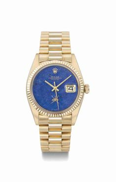 Rolex. A rare and attractive 18K pink gold automatic wristwatch with sweep centre seconds, date, bracelet and lapis lazuli dial, made for the Sultanate of Oman, circa 1972 #ChristiesWatches