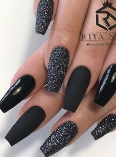 The most beautiful ideas for black winter nails - Coffin Nails - . - The most beautiful ideas for black winter nails – Coffin Nails – - Cute Acrylic Nail Designs, Black Nail Designs, Best Acrylic Nails, Nail Designs With Glitter, Winter Acrylic Nails, Winter Nail Designs, Black Nails With Glitter, Cute Black Nails, Black Silver Nails
