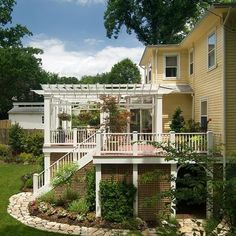 Landscaping Around Deck Design Ideas, Pictures, Remodel, and Décor-I so want a pergola over my front deck for a light airy outdoor ceiling that things can be hung from.