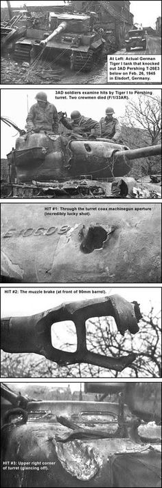 US Pershing vs. German Tiger. The allied crew, all but 2, was very lucky.