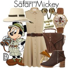 Safari Mickey by leslieakay on Polyvore featuring Miss Selfridge, Glamorous, Elgin, Zara Taylor, Michael Kors, Ona Chan, Bed|Stü, disney, disneybound and disneycharacter