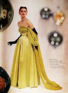 Balenciaga, 1950s designer evening gown silk satin green yellow gold chartreuse model magazine designer color print ad