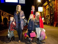 Dutch Royal family on the station ready to go for a winterholiday to Davos, 2013.