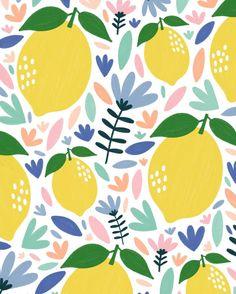 Surface Pattern Design, Pattern Art, Abstract Pattern, Pattern Illustration, Watercolor Illustration, Lemon Art, Christian Wall Art, Fruit Pattern, Design Seeds