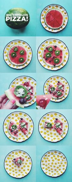 slice a watermelon into a round and top it with coconut grapes kiwi and
