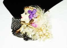 New Listings Daily - Follow Us for UpDates -  Woman's Head Brooch - #Profile Pin - Fashions of the World - Long Blonde Hair - Purple Pink Gold and Black - Retro 1980's - 1990's offered by #TheJewelSeeker on Etsy  Descrip... #vintage #jewelry #teamlove #etsyretwt #ecochic #profile #thejewelseeker ➡️ http://etsy.me/2kd6T2i