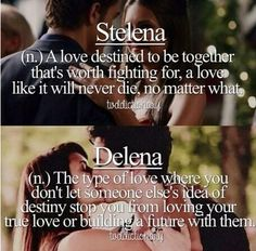 Stelena is two dead people who helped each other come alive to love again. They came to realize they loved each other as friends but their hearts belonged to other people who transcended friendship and completed them. For Elena that is Damon. #twoepicloves