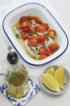 ROASTED PORTUGUESE COD~ This fish dish is supremely quick and easy. As with so much Mediterranean cuisine a straightforward  combination of simple, super fresh and nutritious ingredients are brought together to create a great meal. All this needs is some simple new boiled potatoes.