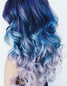 Blue mermaid hair hair colors ideas of mermaid blue hair color Blue Ombre Hair, Ombre Hair Color, Cool Hair Color, Violet Hair, Dyed Ends Of Hair, Dyed Hair, Blue Mermaid Hair, Colored Hair Tips, Bright Hair