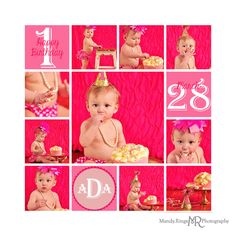 Baby girl's first birthday // Hot pink and gold smash cake session // gold glitter party hat, pink polkadot diaper cover, feather headband, ruffled backdrop // by Mandy Ringe Photography