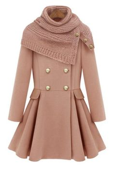 Fashionable Round Neck Long Sleeve Solid Color Button Design Women's Coat