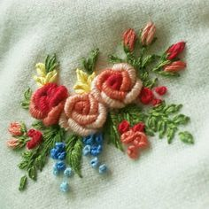 Wonderful Ribbon Embroidery Flowers by Hand Ideas. Enchanting Ribbon Embroidery Flowers by Hand Ideas. Brazilian Embroidery Stitches, Embroidery Needles, Hand Embroidery Stitches, Silk Ribbon Embroidery, Crewel Embroidery, Hand Embroidery Designs, Embroidery Techniques, Embroidery Supplies, Embroidery Ideas