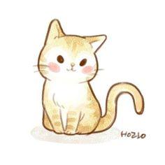 Cute Cat Drawing, Cute Animal Drawings, Cute Drawings, Kawaii Chibi, Kawaii Art, Gatos Cat, Cute Kawaii Animals, Cat Character, Cat Cards