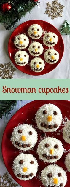 Snowman cupcakes with coconut and chocolate chips, a festive dessert so loved by kids and grown-ups alike.