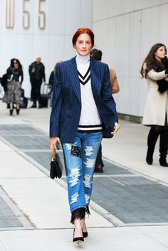 Taylor Tomasi Hill's Junya jeans are weird in the best of ways.  This photo originally appeared here.