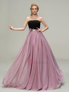 Vestido Largo de Dama de Honor Línea A sin Tirantes Chifón (Envío Gratuito)