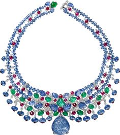 """CARTIER """"Sambhal"""" Necklace/Brooch - platinum, carved sapphire from Burma, sapphire and ruby beads, carved sapphires and emeralds, cabochon-cut rubies, brilliant-cut diamonds"""