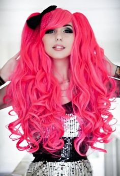 Hot Retro Pink Wig