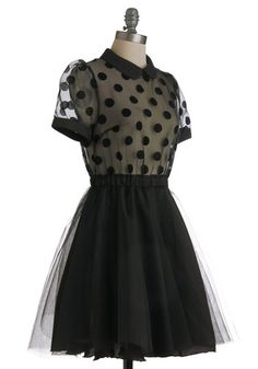 Spotted black dress with Peter Pan collar