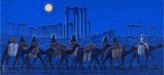 Hirayama Ikuo, Traveling by Palmyra Ruins in the moonlight. Yamanashi, Palmyra, Silk Road, Japanese Artists, Ancient Rome, Central Asia, Moonlight, Camel, Museum