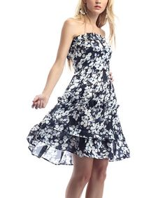 Take a look at this Black & Blue Strapless A-Line Dress by Classique on #zulily today!