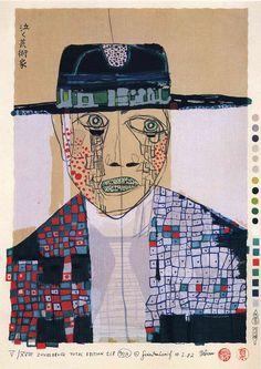 peinture autrichienn : Friedensreich Hundertwasser, portrait d'homme avec chapeau, 1982