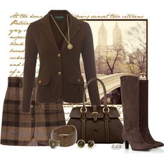 Fall work clothes. Love the skirt! This would look so cute with a silk cream blouse.