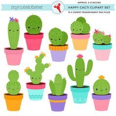 Happy Cacti Clipart Set  clip art set of by mycutelobsterdesigns
