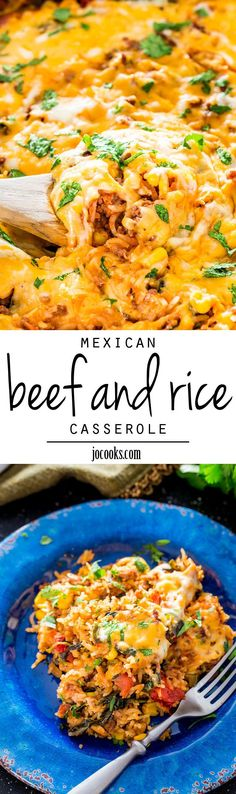Mexican Beef and Rice Casserole - an easy and delicious beef and rice casserole loaded with flavor and packed with some extra veggies.