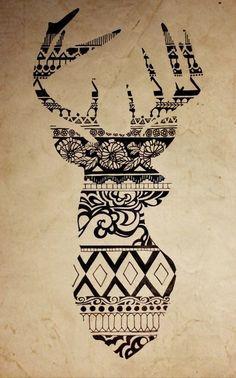 Sillouette of dear shown through pattern